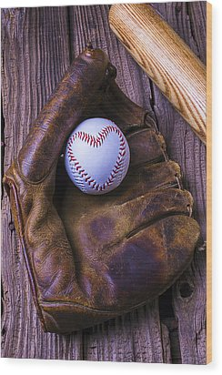 Glove And Heart Baseball Wood Print by Garry Gay