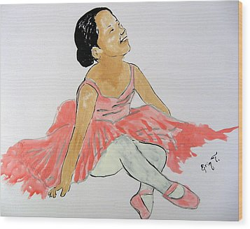 Glowing Ballerina Wood Print by Erin T