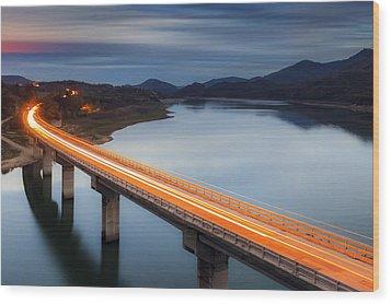 Glowing Bridge Wood Print by Evgeni Dinev