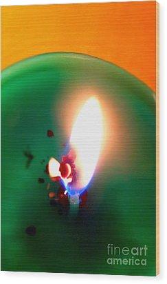 Glowing Candle Wick Wood Print