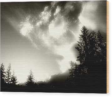 Wood Print featuring the photograph Glowing Clouds by Adria Trail