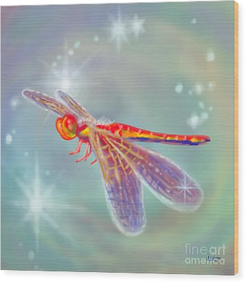 Glowing Dragonfly Wood Print by Audra D Lemke