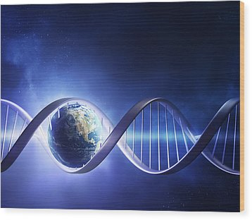 Glowing Earth Dna Strand Wood Print by Johan Swanepoel