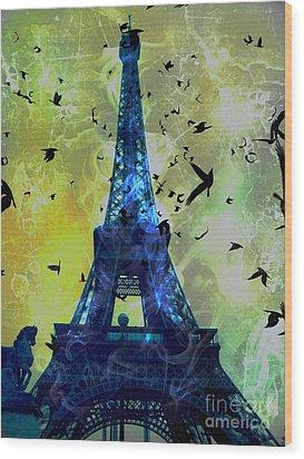 Glowing Eiffel Tower Wood Print