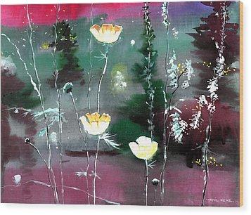 Glowing Flowers Wood Print by Anil Nene