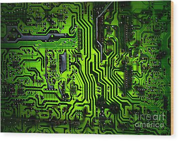 Glowing Green Circuit Board Wood Print by Amy Cicconi