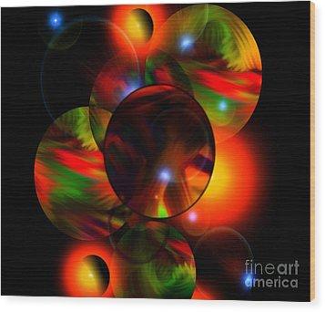 Glowing Marbles Wood Print