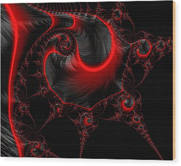 Glowing Red And Black Abstract Fractal Art Wood Print by Matthias Hauser
