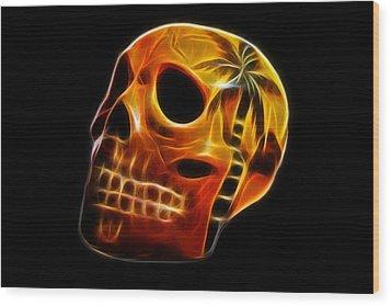 Glowing Skull Wood Print by Shane Bechler
