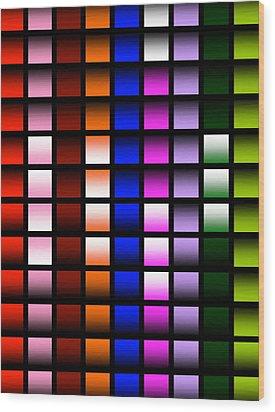 Glowing Squares  Wood Print by Gayle Price Thomas
