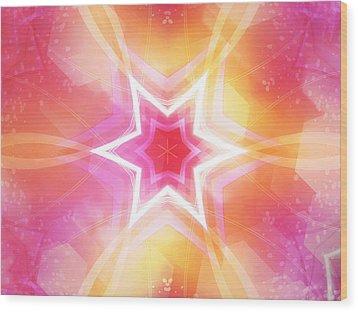 Glowing Star Wood Print by Ann Croon