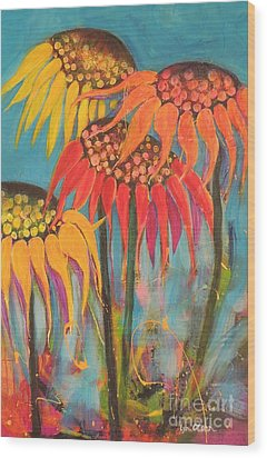Wood Print featuring the painting Glowing Sunflowers by Lyn Olsen
