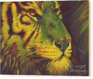 Glowing Tiger Wood Print by Summer Celeste