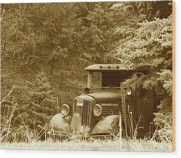 Gm Truck  Sepia Wood Print by Steven Parker