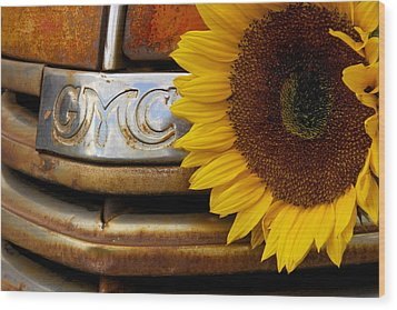 Gmc Sunflower Wood Print