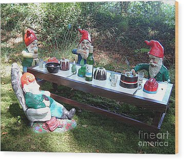 Gnome Cooking Wood Print