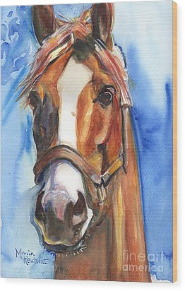 Horse Painting Of California Chrome Go Chrome Wood Print by Maria's Watercolor
