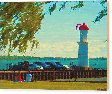 Go Fly A Kite Off A Short Pier Lachine Lighthouse Summer Scene Carole Spandau Montreal Art  Wood Print by Carole Spandau