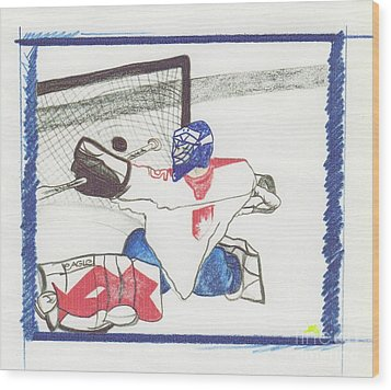 Wood Print featuring the drawing Goalie By Jrr by First Star Art
