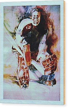 Goalie Wood Print by Dale Michels