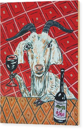 Goat At The Wine Tasting Wood Print by Jay  Schmetz