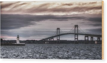 Goat Island Lighthouse And Newport Bridge Wood Print by Joan Carroll