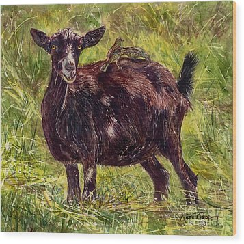 Goat Piggybackers Wood Print