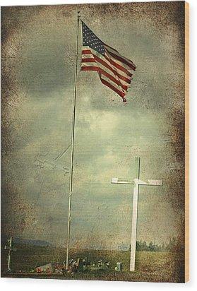 God And Country Wood Print by Doug Fredericks