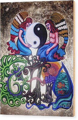 God And Gaia Wood Print by Genevieve Esson