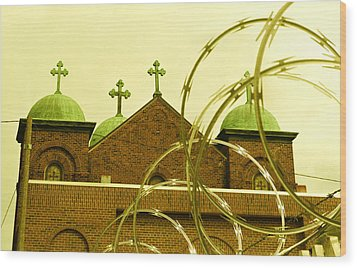 God And Razor Wire Wood Print