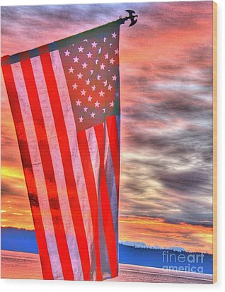 God Bless America Over Puget Sound Wood Print