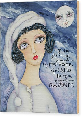 God Bless Me Wood Print by Joann Loftus