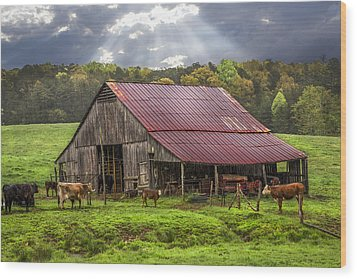 God Bless The Farmer Wood Print by Debra and Dave Vanderlaan