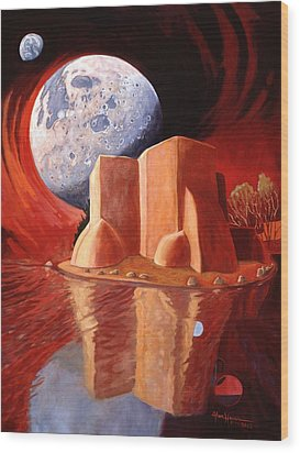 Wood Print featuring the painting God Is In The Moon by Art James West