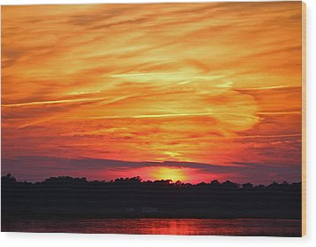God Paints The Sky Wood Print by Cynthia Guinn