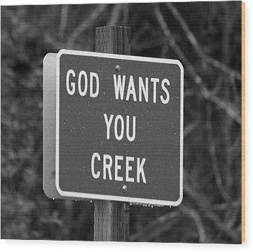 Wood Print featuring the photograph God Wants You Creek by Marie Neder
