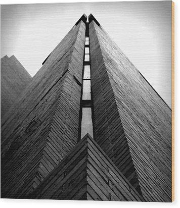 Goddard Stair Tower - Black And White Wood Print
