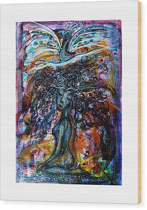 Goddess And Peacock Wood Print by Mimulux patricia no No