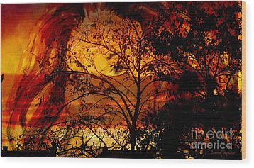 Goddess At Sunset Wood Print by Leanne Seymour