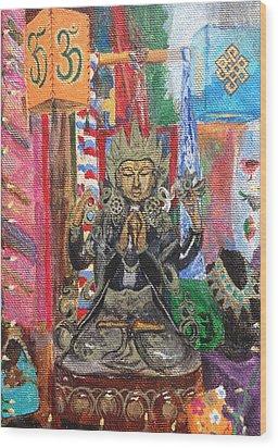 Buddha Goddess Wood Print by Chrissey Dittus