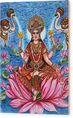 Wood Print featuring the painting Goddess Lakshmi by Harsh Malik