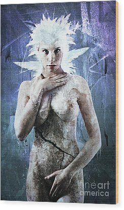 Goddess Of Water Wood Print by Michael Volpicelli