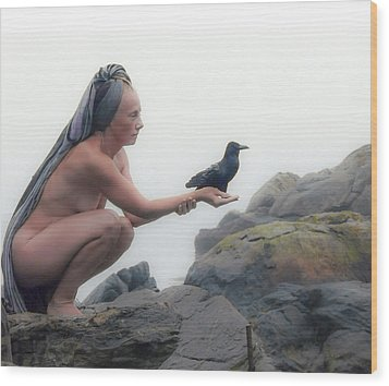 Goddess With Raven Wood Print by Ann Tracy