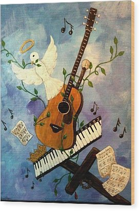 God's Music Wood Print by Suzanne Brabham