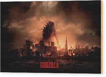 Godzilla 2014 Wood Print by Movie Poster Prints