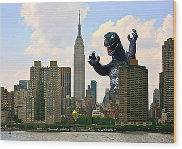Godzilla And The Empire State Building Wood Print by William Patrick