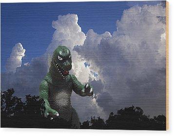 Godzilla Attacks Wood Print by William Patrick