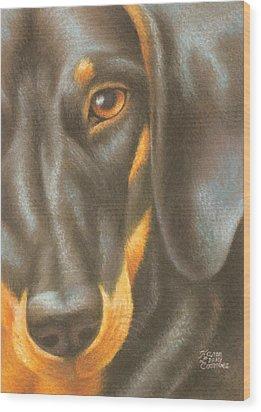 Goggie Daschund Wood Print by Karen Coombes
