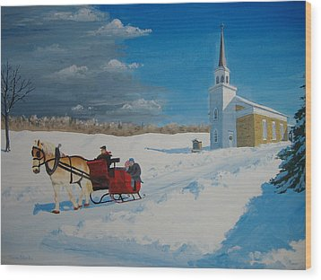 Going Home From Church Wood Print by Norm Starks