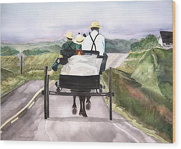 Going Home From Market Wood Print by Susan Crossman Buscho
